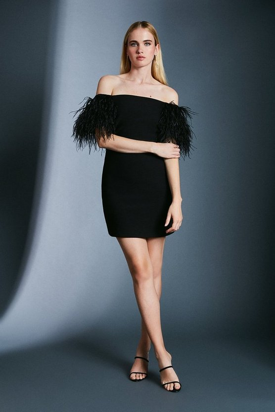 Black Bardot Feather Detail Dress