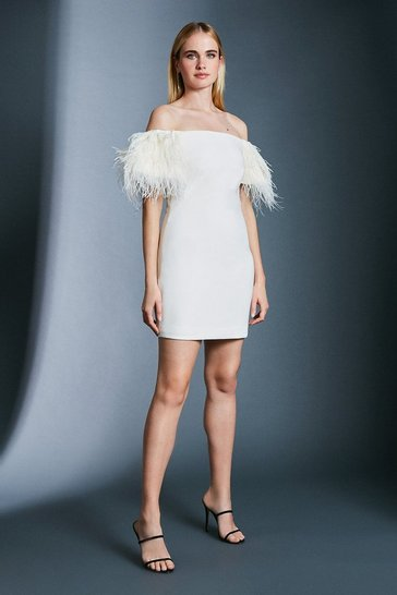 Ivory Bardot Feather Detail Dress