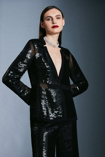 Black Sequin and Sheer Detail Jacket