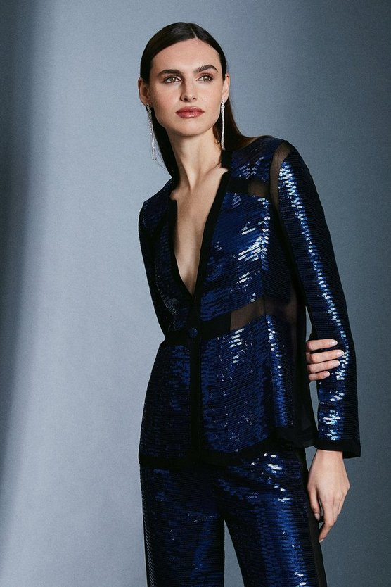 Navy Sequin and Sheer Detail Jacket