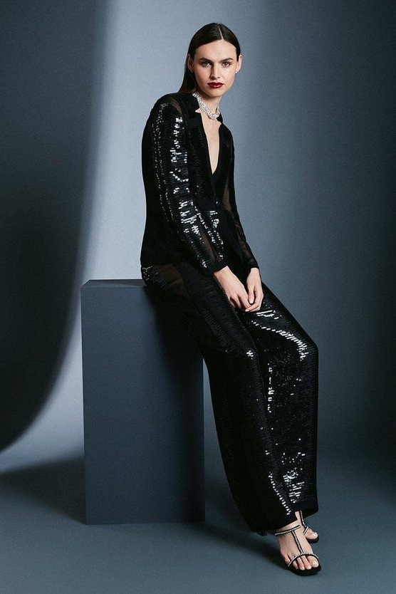 Black Sequin Sheer Side Panel Trouser