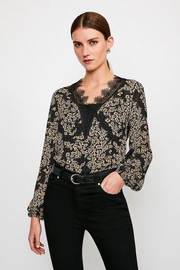 Ditsy Floral and Lace Blouse