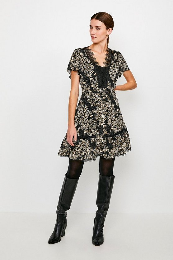Ditsy Floral and Lace Dress