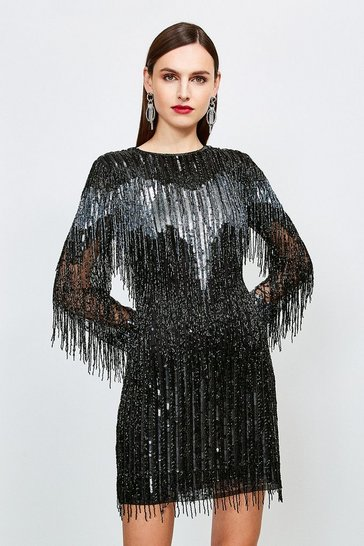 Black Sequin And Beaded Tassel Dress