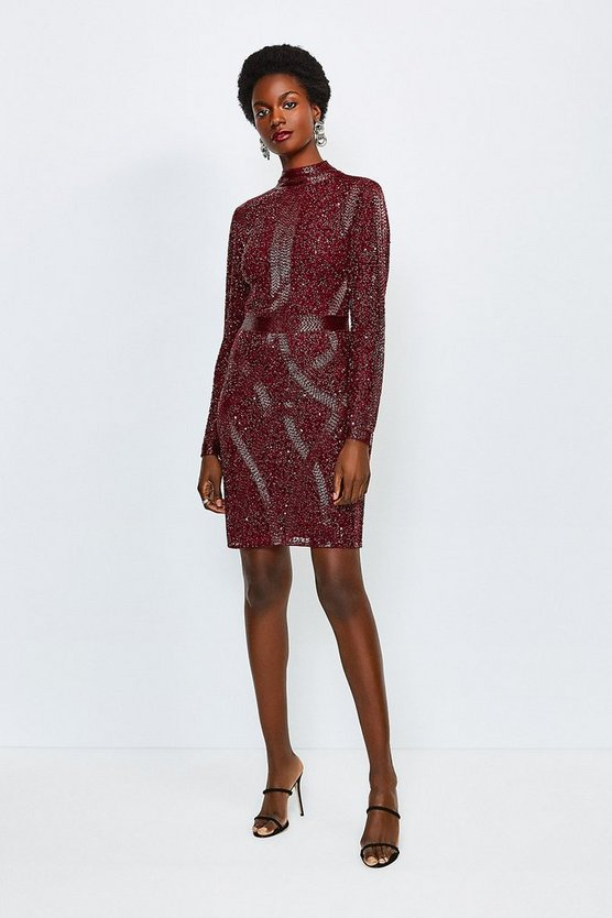 Maroon Beaded And Sequin High Neck Dress