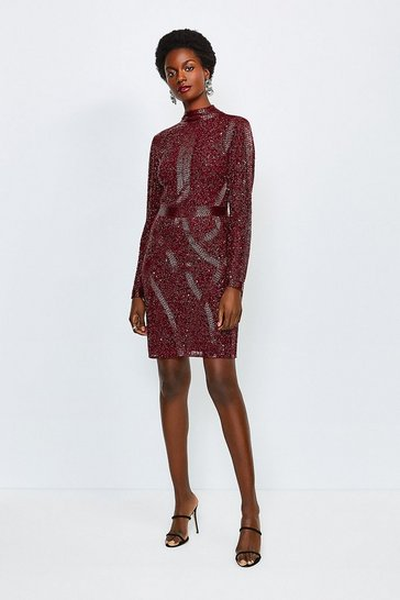 Maroon Beaded And Sequin Hi Neck Dress