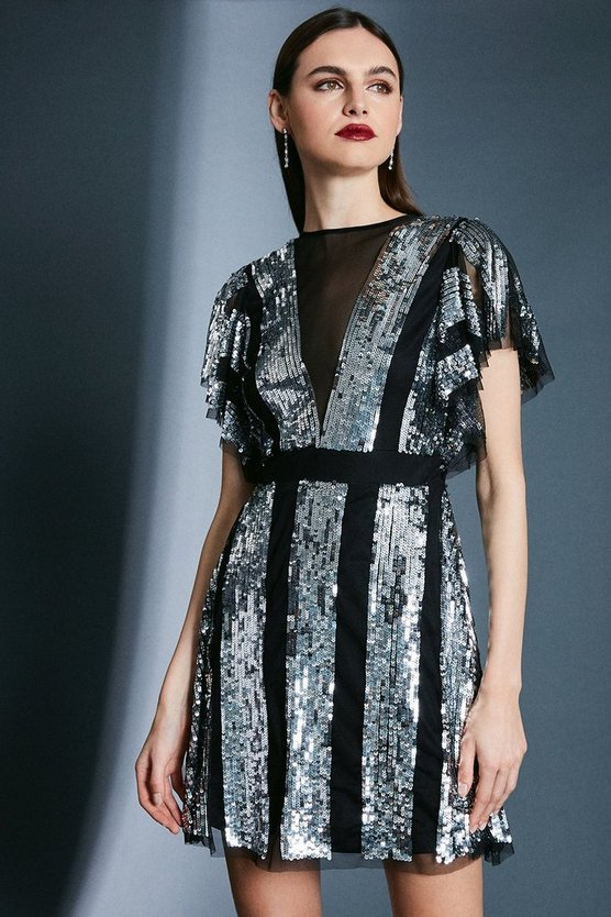 Silver Sequin Fluted Sleeve Dress