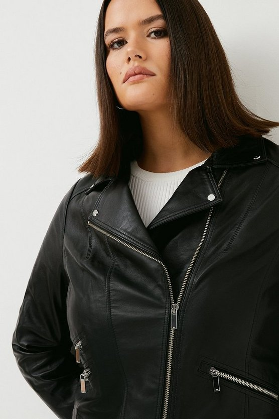 Black Curve Leather Signature Biker Jacket