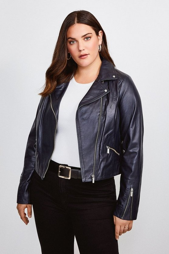 Navy Curve Leather Signature Biker Jacket