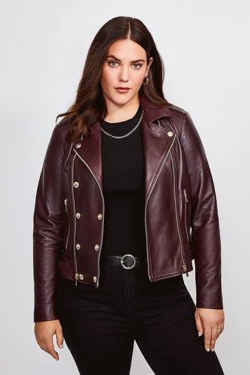 Fig Curve Leather Military Biker