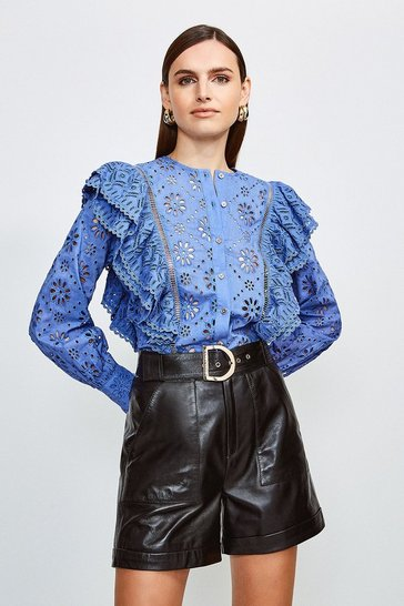 Blue Cut Work Cotton Button Blouse