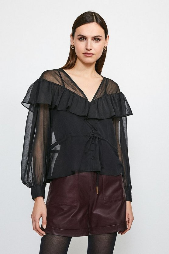 Black Ruffle Detail Blouse With Tie Waist