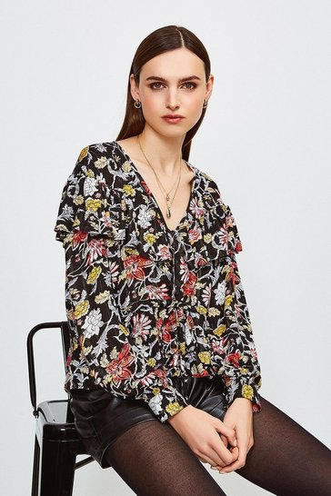 Ruffle Detail Floral Blouse With Tie Waist