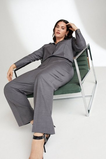 Grey Curve Polished Stretch Wool Blend Wide Trousers