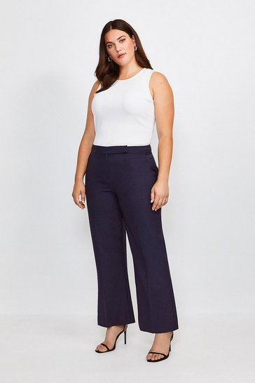 Navy Curve Polished Stretch Wool Blend Wide Trousers