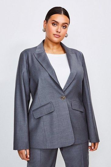 Grey Curve Polished Stretch Wool Blend Jacket