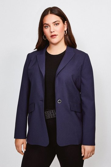 Navy Curve Polished Stretch Wool Blend Jacket