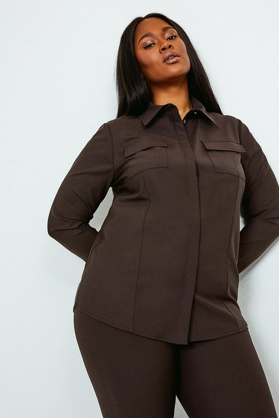 Chocolate Curve Polished Stretch Wool Blend Shirt