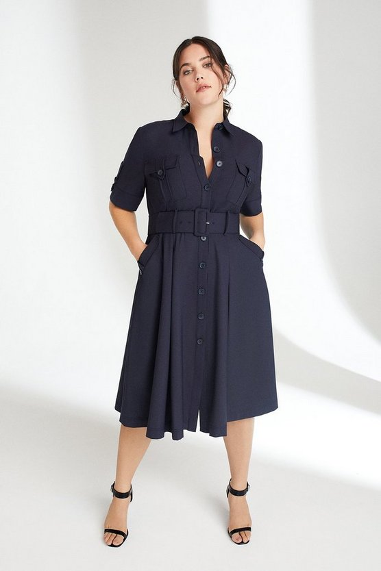 Navy Curve Polished Stretch Wool Blend Utility Dress