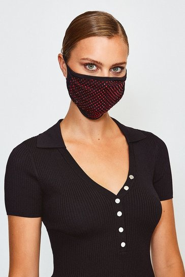 Black Fashion Diamante Face Mask