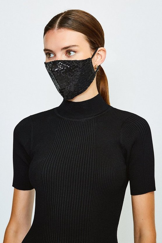 Black Fashion Sequin Face Mask