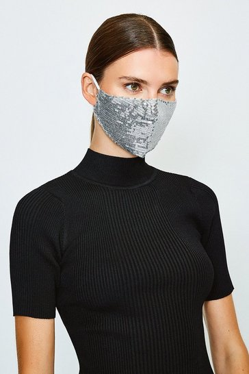 Silver Fashion Sequin Face Mask