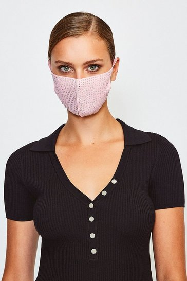 Pink Fashion Diamante Face Mask