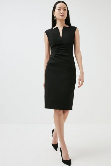 Black Compact Stretch Envelope Neck Pencil Dress