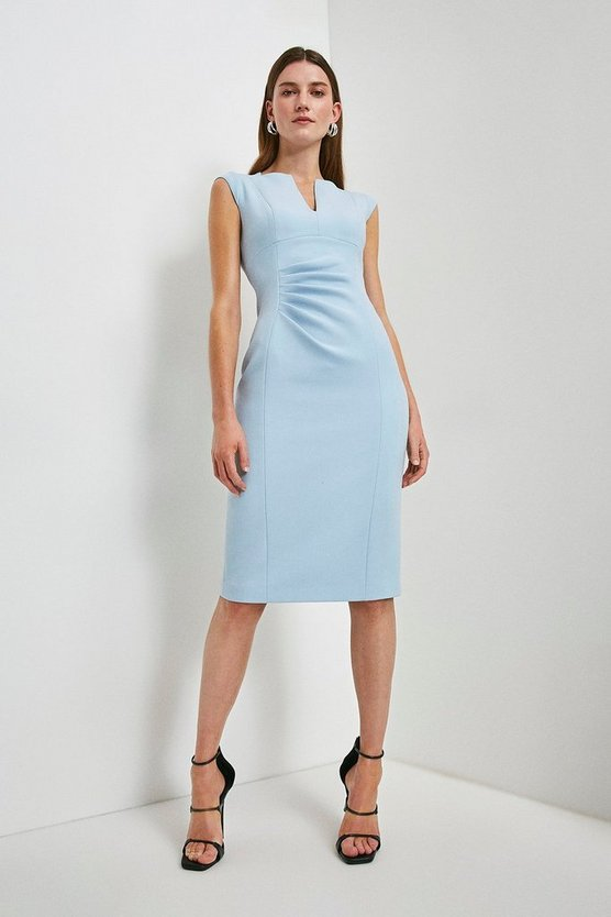 Pale blue Compact Stretch Envelope Neck Pencil Dress