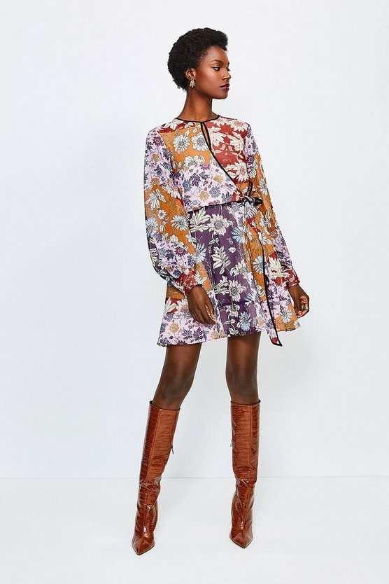 Purple Floral Keyhole Tie Waist Dress