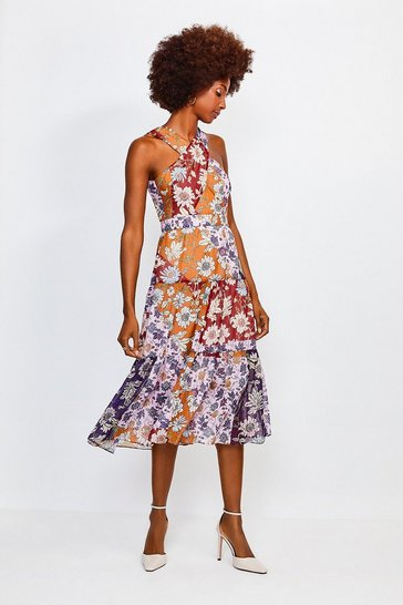 Purple Floral Halter Midi Dress With Cross Front