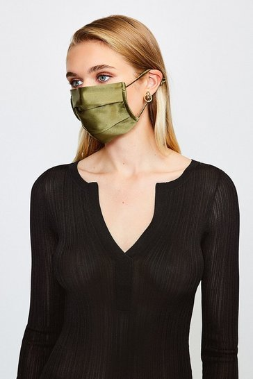 Khaki Fashion Silk Face Mask Covering