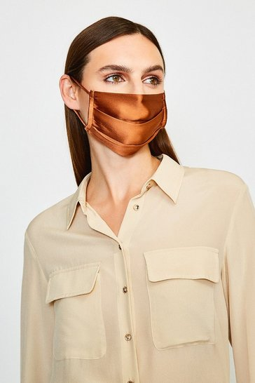 Rust Fashion Silk Face Mask Covering