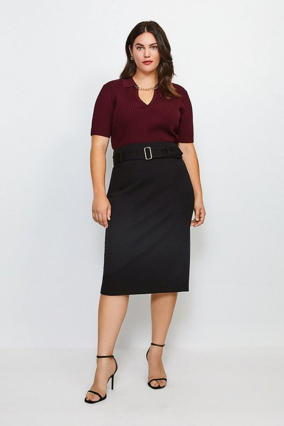Black Curve Ponte Belted Pencil Skirt