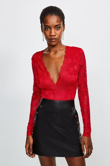 Fire red Lace  Deep V Body