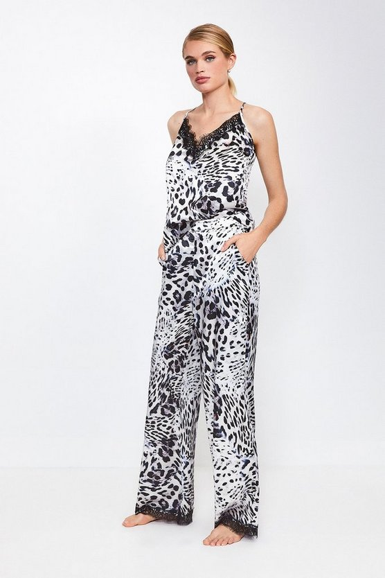 Leopard Animal Print Satin Pj Pant