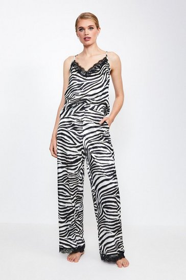 Zebra Animal Print Satin PJ Pant