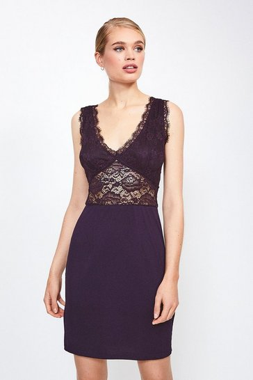 Fig Stretch Lace And Viscose Jersey Chemise