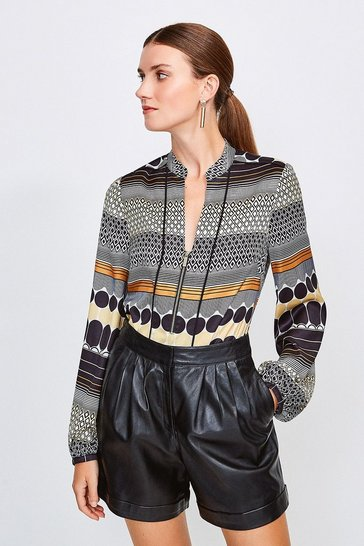 Yellow Bold Geo Stripe Zip Front Blouse