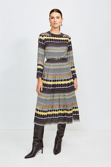 Yellow Geo Stripe Pleat Midi Dress