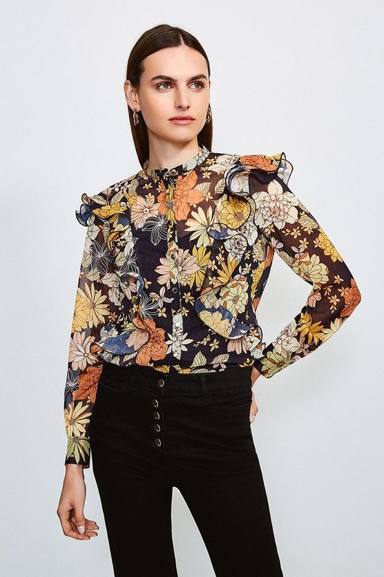 Black Floral Buttoned Blouse With Ruffle Detail