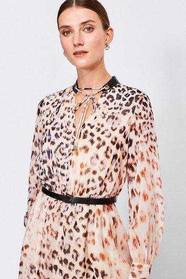 Brown Leopard Print And PU Trim Dress