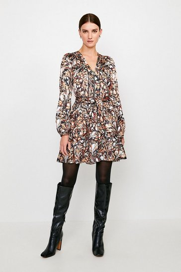 Brown Textured Marble Print Belted Dress
