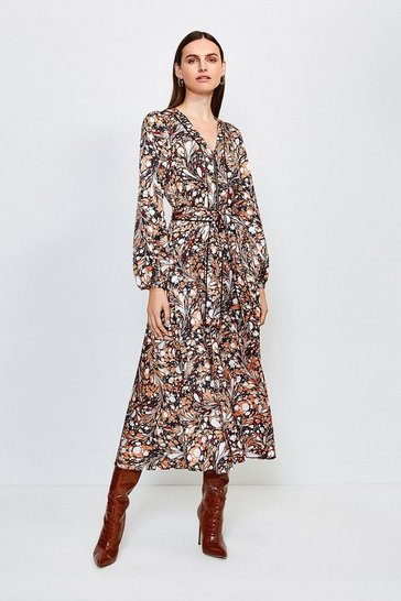 Brown Satin Marble Print Midi Dress