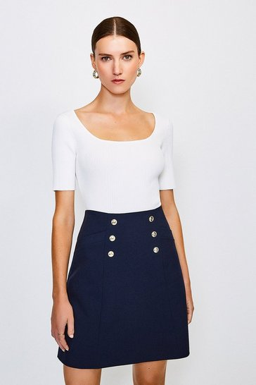 Navy Military Button Mini Skirt