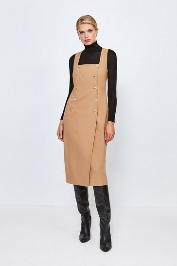 Camel Military Square Neck Pencil Dress