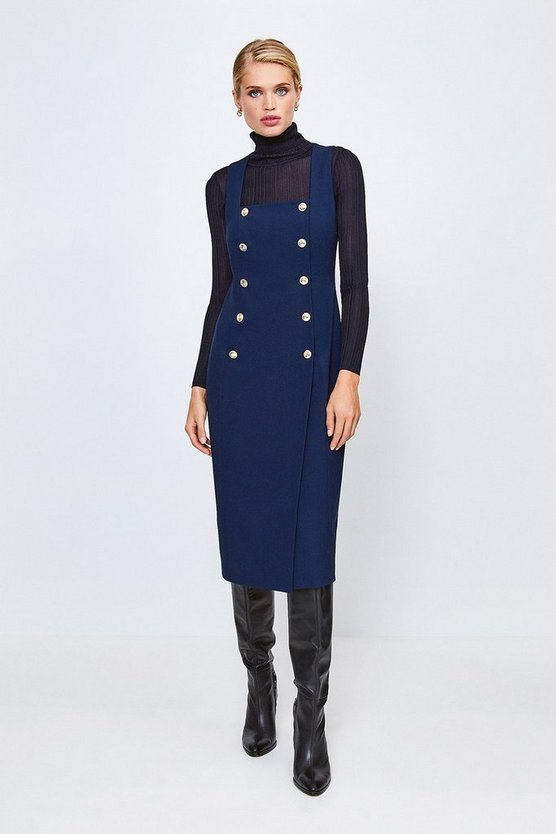 Navy Military Square Neck Pencil Dress