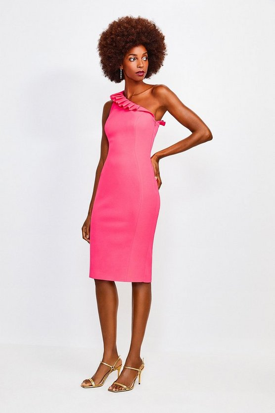 Pink Italian Stretch Asymmetric Ruffle Dress