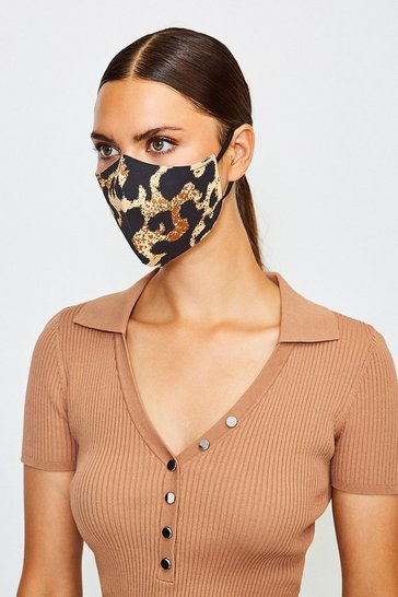 Brown Reuseable Fashion Printed Face Mask