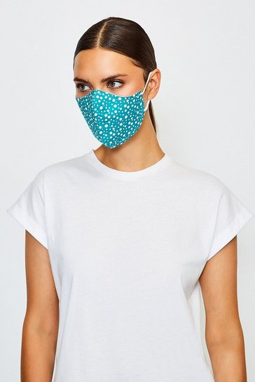 Teal Reuseable Fashion Printed Face Mask